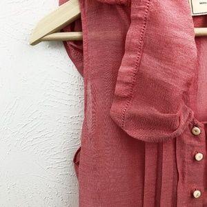 Anthropologie Tops - Anthro Moulinette Soeurs Gauzy Silk Pink Blouse